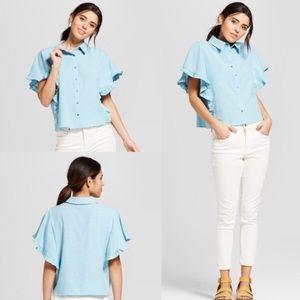 CLEARANCE Univ. Thread Ruffle Sleeve Cute top blue